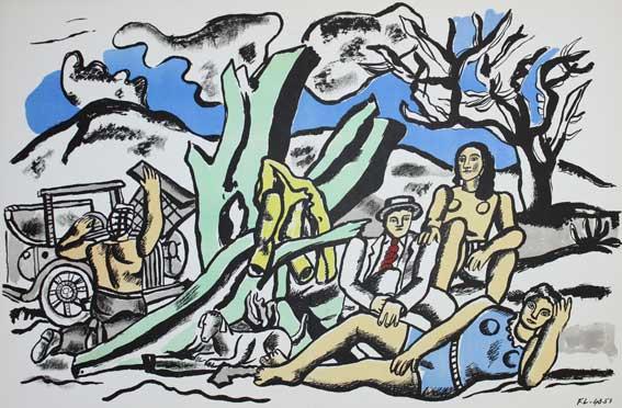 """Fernand Legér. """"La Partie de Campagne"""". Farblithographie, 1951. Utropspris 2 800 SEK. Kiefer."""