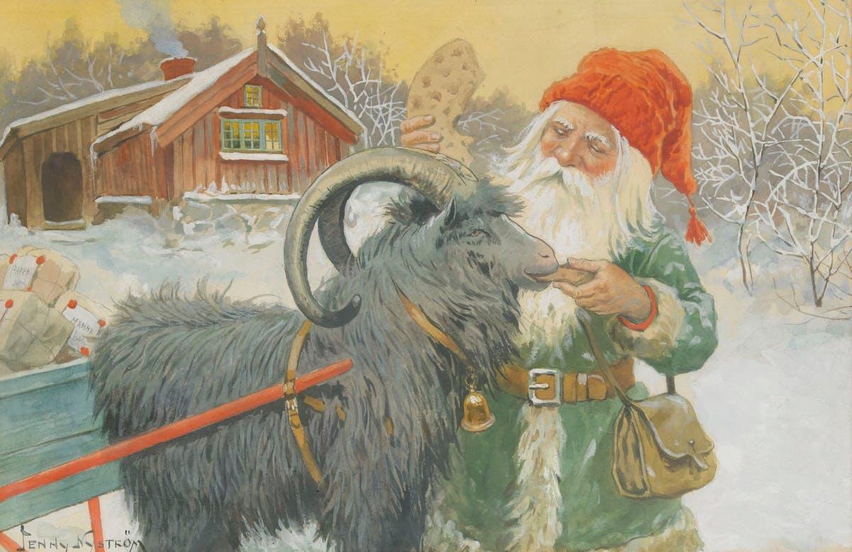 Jenny Nyström, Tomte med julklappar, akvarell. Såldes på Stockholms Auktionsverk 2012 för 95 000 kronor.