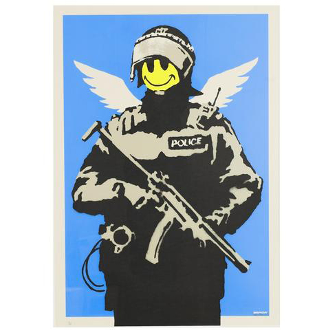 Banksy, Flying Copper. Signed, with full pest control authentication. On sale at Graffiti Street