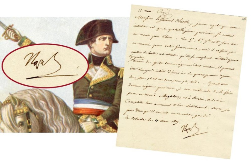One-page war letter written in French by Napoleon Bonaparte on March 11, 1807, from Germany during the Polish Campaign, War of the 4th Coalition (est. $1,200-$1,500).