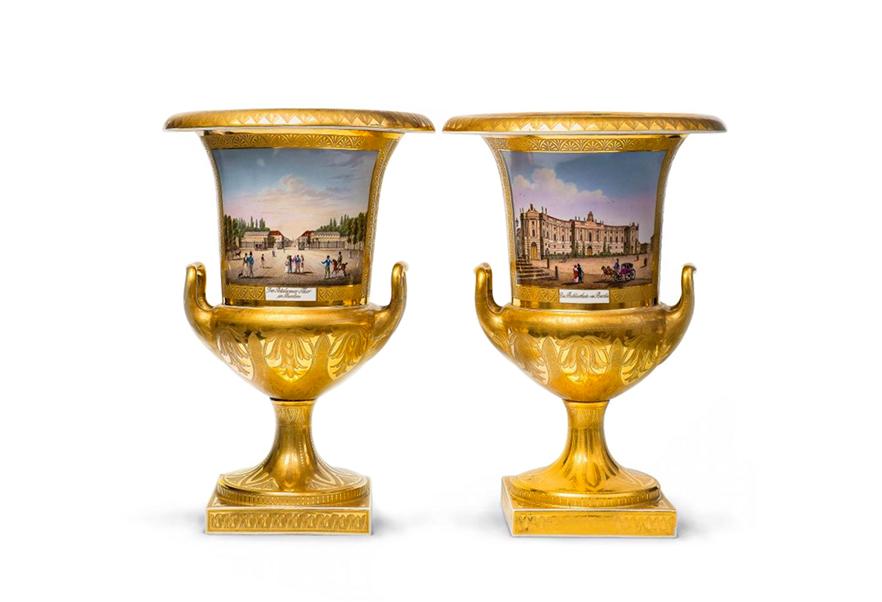 Golvvaser, ett par. KPM Berlin år 1824 - 1831. Foto: Lempertz.