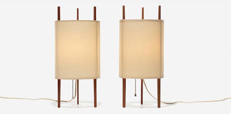 ISAMU NOGUCHI. Table lamps model 9, pair. Knoll Associates, USA 1947. Low estimate: $ 5.000