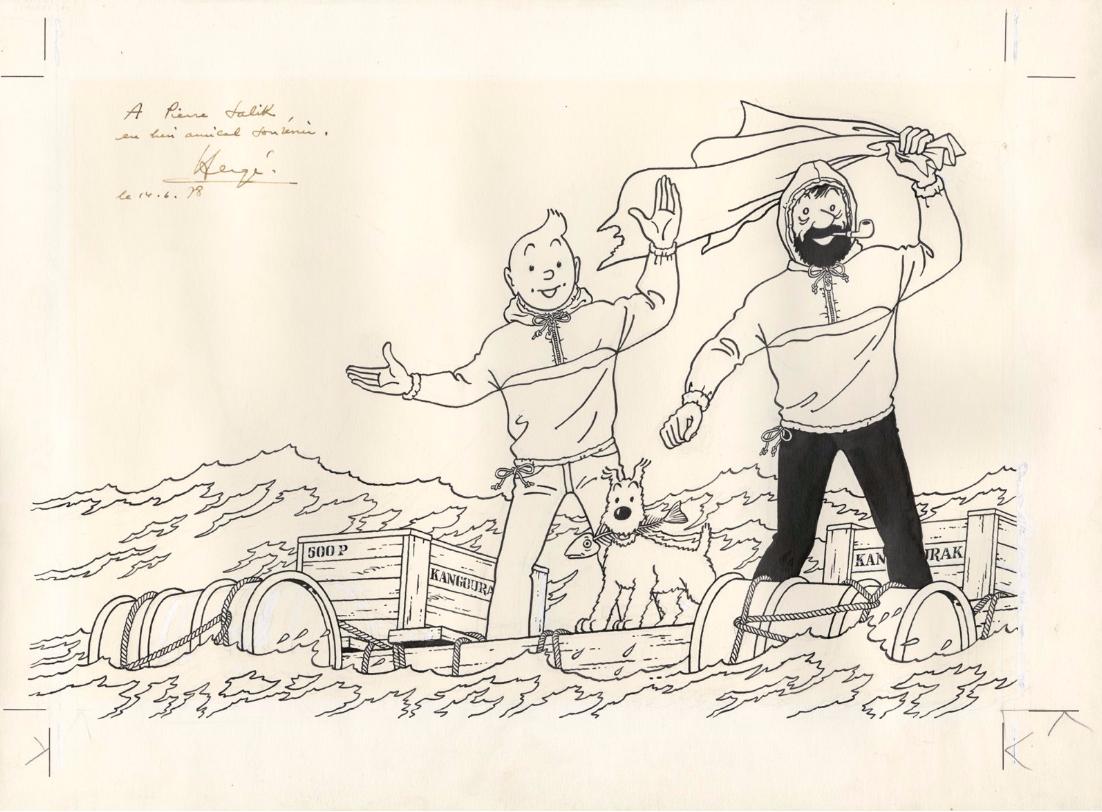 Hergé (Studios) Salik, Encre de Chine pour ce très grand dessin très proche du dessin définitif d'un des autocollants publicitaires pour les Kangourak Salik Dédicacé le 16 juin 1978 par Hergé à Pierre Salik, le patron de la firme à l'époque