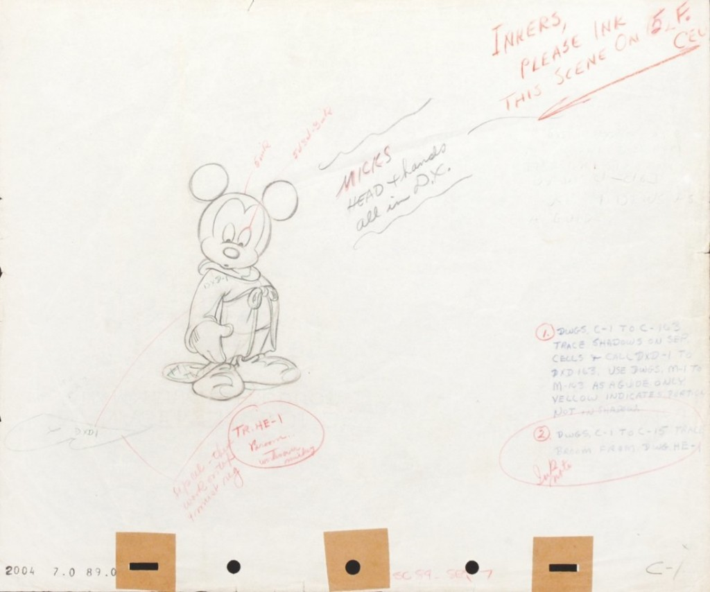 Mickey The Sorcerer's Apprentice Original production layout, pencil and crayon on production paper Estimate: 1900-4000 EUR