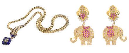 À gauche: Pendentif serpent, époque Victorienne À droite: boucles d'oreilles éléphants diamants et saphirs