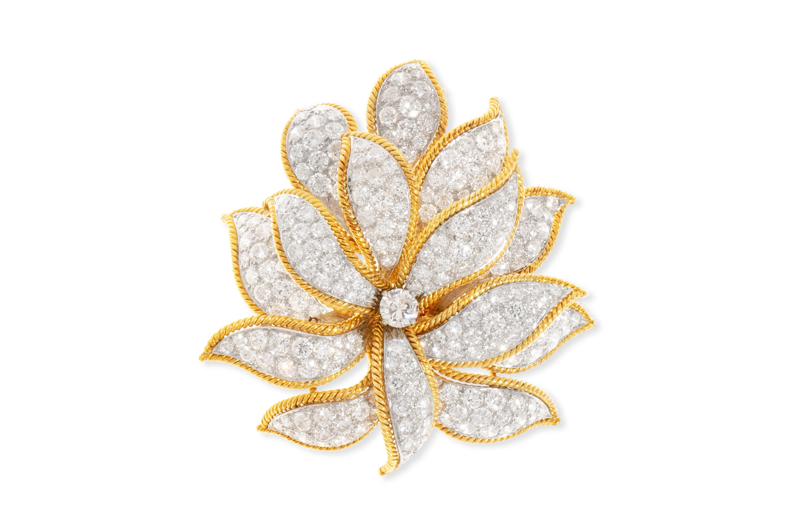 Fine jewelry will be led by pieces from iconic American jeweler David Webb, including a bold diamond and platinum foliate brooch (est. $10,000-15,000).