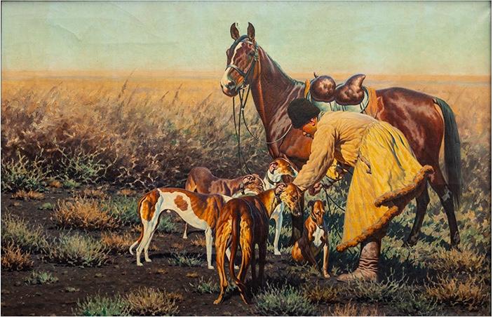 """Hugo Ungewitter (1869- um 1944), """"Kosake mit Pferd und Windhunden in der Steppe"""", Öl/Lwd."""