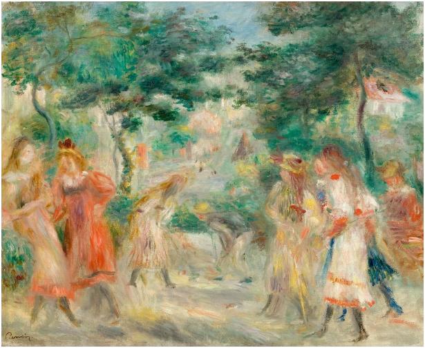 Pierre-Auguste Renoir (Limoges 1841 - 1919 Cagnes-sur-Mer) , La partie de croquet (Enfants dans le jardin de Montmartre). 46,5 x 55,5 cm. Stämpelsignatur, cirka 1895. Schätzpreis: 450.000-550.000 CHF (416.670-509.260 EUR)