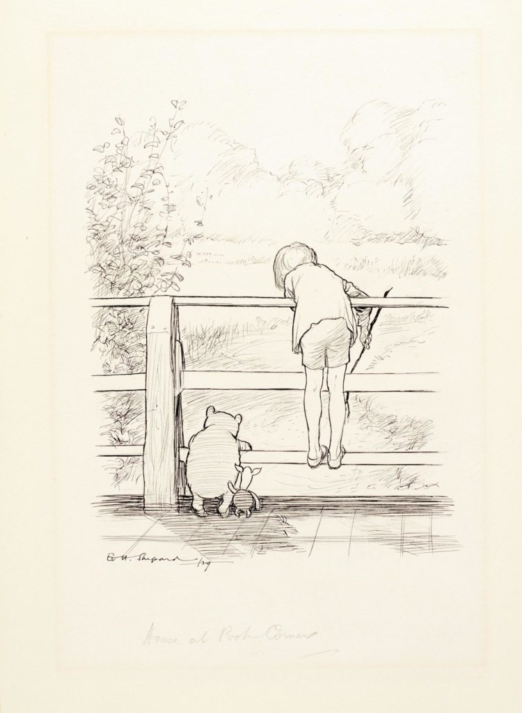 E.H. Shepard, « For a long time they looked at the river beneath them », issu de The House at the Pooh Corner, image ©Sotheby's