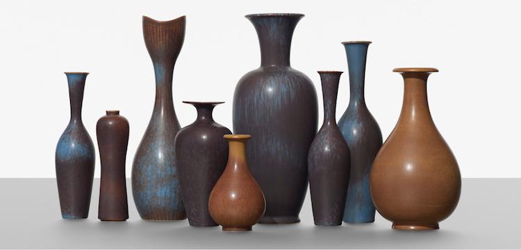 Gunnar Nylund, samling av nio vaser, Rörstrand, Sweden, cirka 1950
