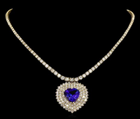 Collier tanzanite et diamants