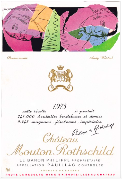Andy Warhol pour Mouton-Rothschild, 1975, image ©Mouton-Rothschild