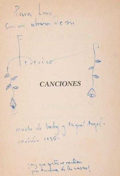 "FEDERICO GARCIA LORCA - ""Canciones 1921-1924"" mit Widmung an Luis Cernuda"
