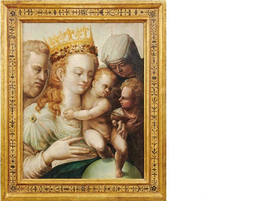 Bologneser Schule oder Schule von Parma - Die heilige Familie mit Elisabeth und dem Johannesknaben, Öl/Holz, Ende 16. Jh.