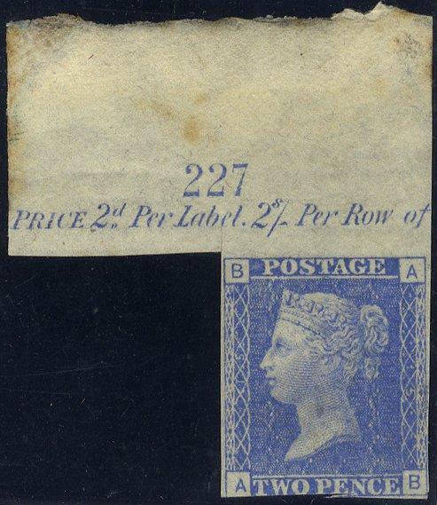 1872 2d Trial in Ultramarine Marginal