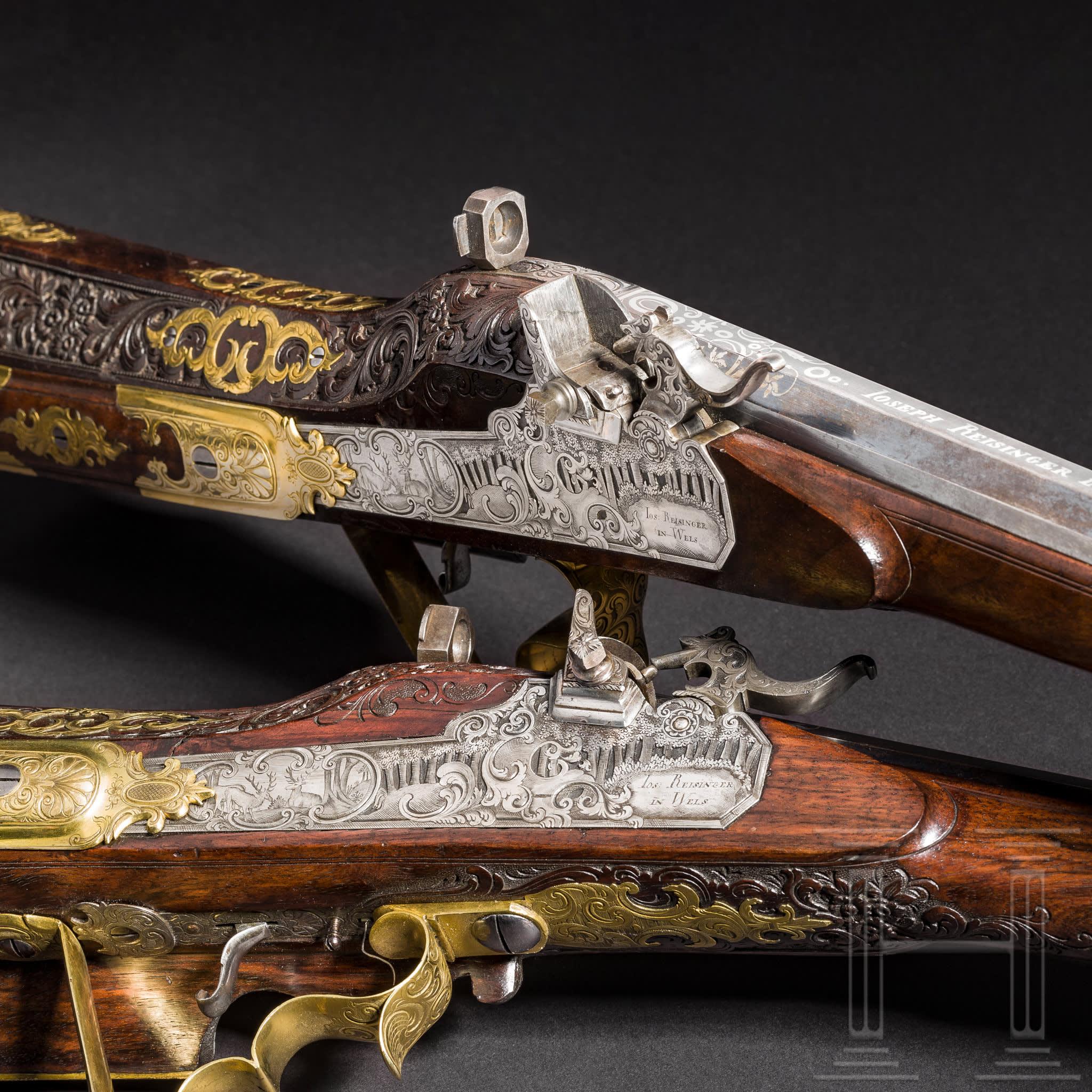 Paire de fusils de luxe, Joseph Reisinger, Wels, vers 1820, image © Hermann Historica