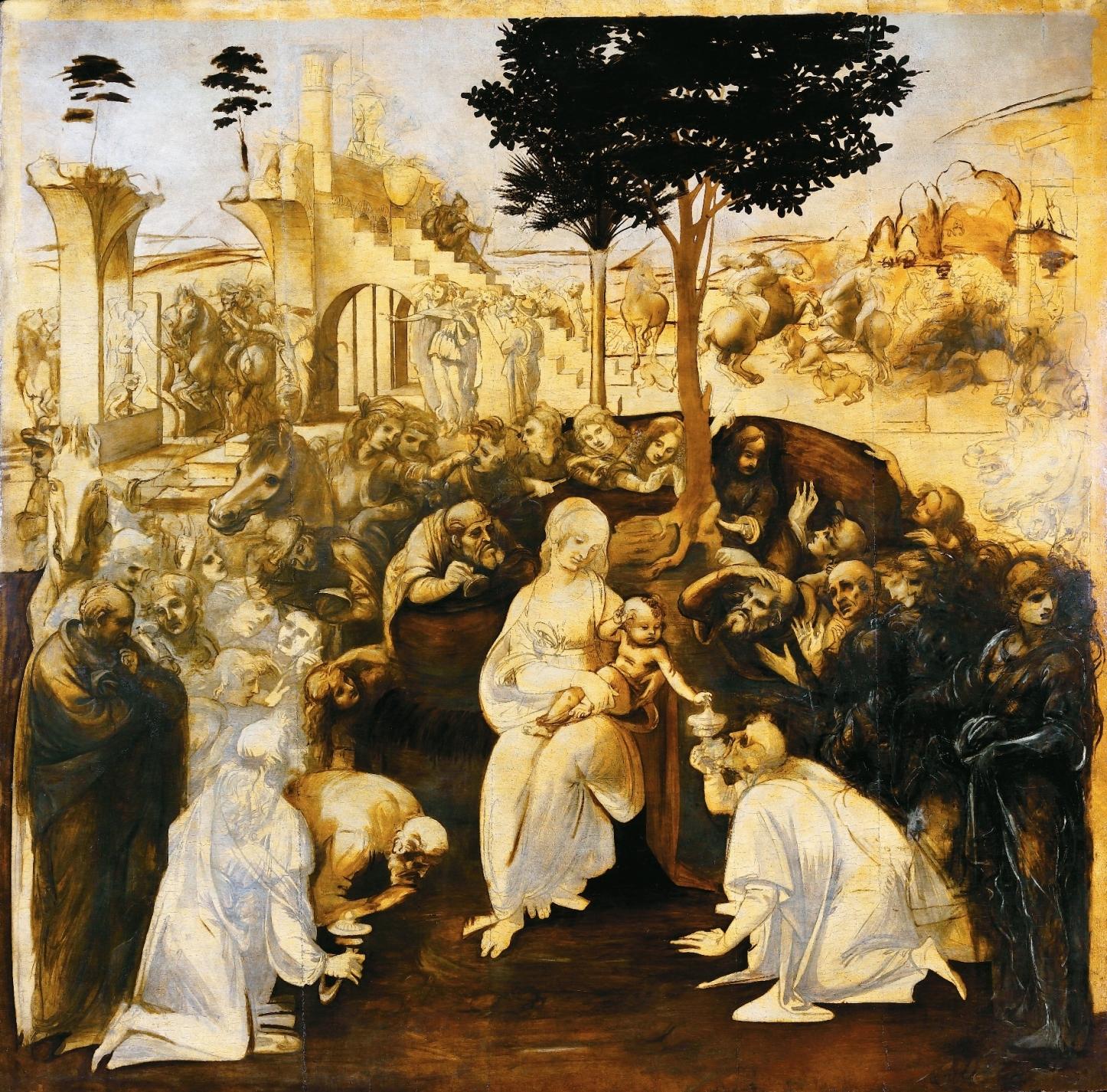 Die Anbetung der Könige aus dem Morgenland, Öl/Holz, um 1481, Florenz, Galleria degli Uffizi