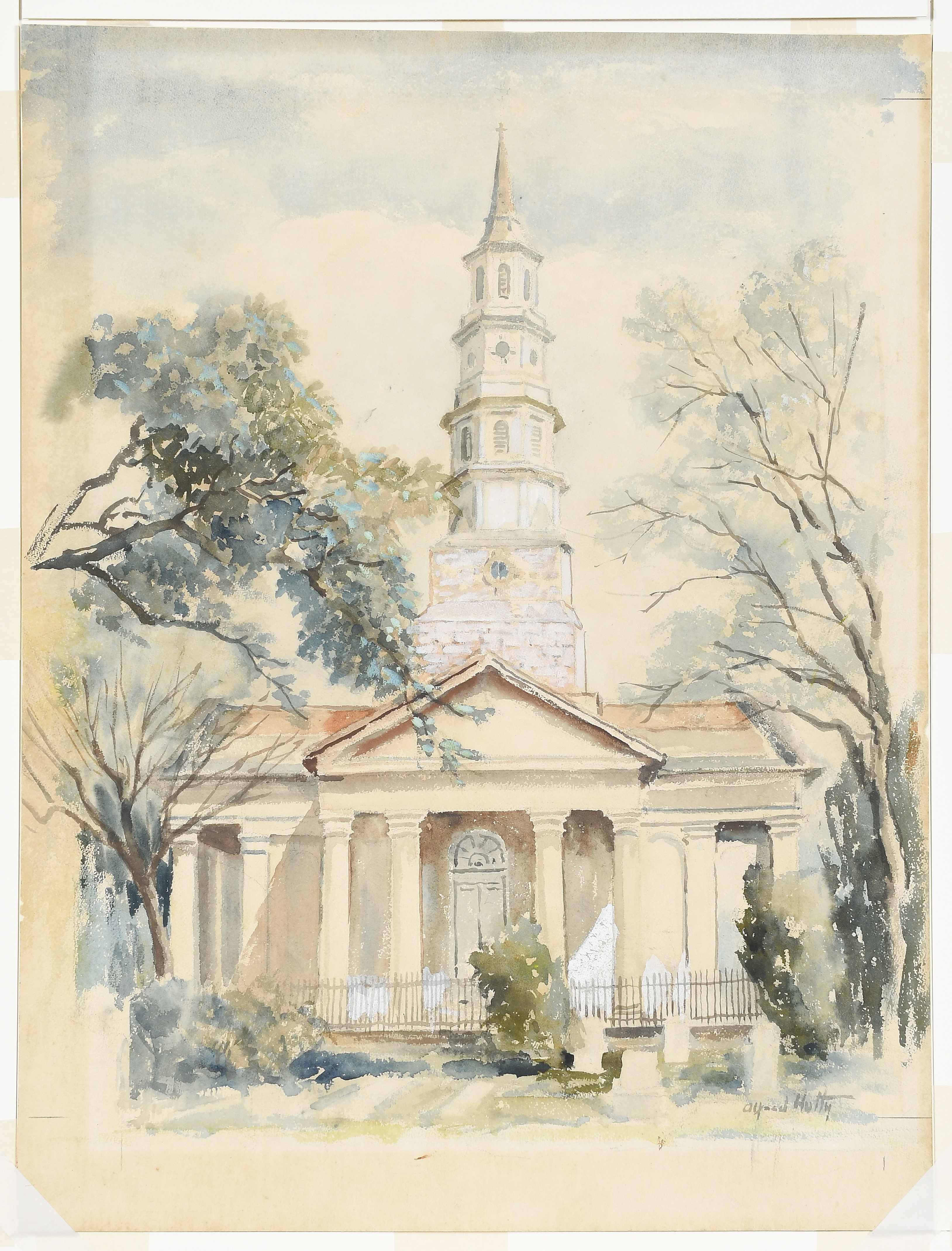Old St Phillips, Alfred Heber Hutty. 1950, watercolor and gouache on paper.