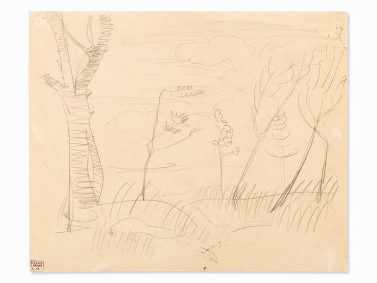 """Detta arbete av Ernst Ludwig Kirchner visar en ritning efter """"Födelsen av oskulden"""" av Domenico Ghirlandaio i kyrkan Santa Maria Novella i Florens. Såvitt det är känt, var Kirchner aldrig i Florens, så han har förmodligen gjort denna teckning efter en illustration. Utgångspriset är 169 000 SEK, hos Auctionata"""