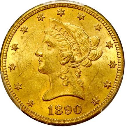 """Lot 383906, ÉTATS-UNIS D'AMÉRIQUE 10 Dollars or """"Liberty"""" 1890 Carson City"""