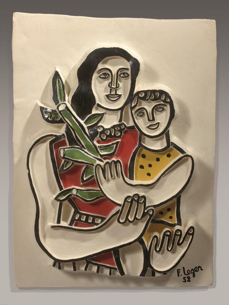 """Pour l'Edition 20116 de la Nocturne rive Droite, Makassar-France présentera des céramiques de Fernand Léger et Roland Brice Fernand Léger et Roland Brice, """"Femme et enfant au pull-over jaune"""", céramique émaillée polychrome, 1952."""