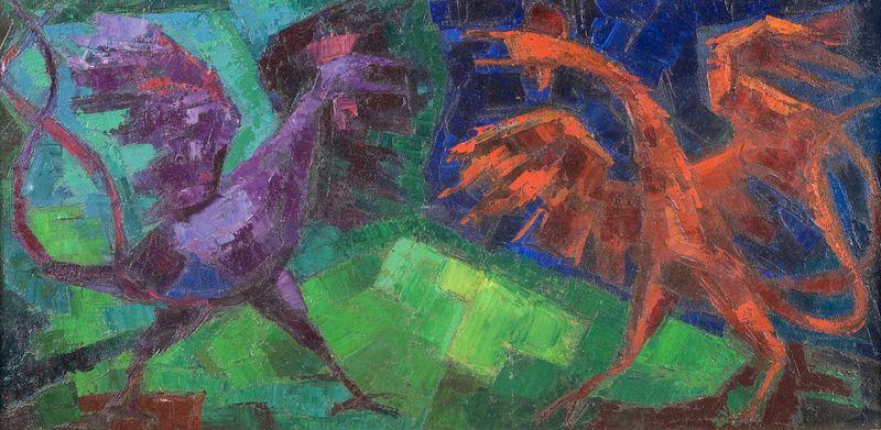 """Wolfgang HUTTER (1928-2014) """"Combat de coqs"""" Huile sur toile signée en bas à gauche, contresignée et titrée au dos """"combat de coqs Hutter Paris"""""""
