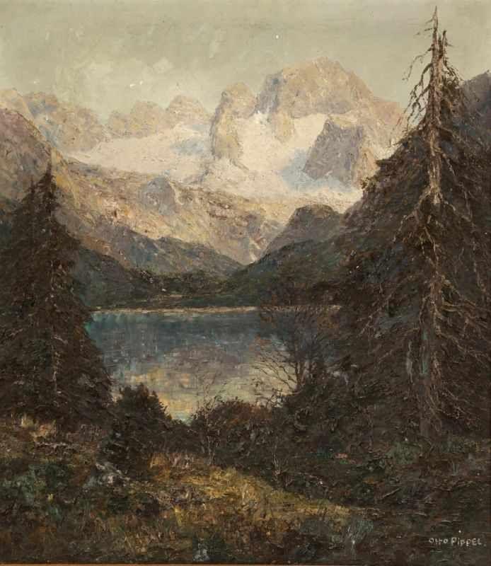 OTTO PIPPEL (1878 Lodz - 1960 Planegg) - Blick auf den Dachstein mit Gosausee, Öl/Lwd., 80x71 cm, signiert Aufrufpreis: 1.000 EUR