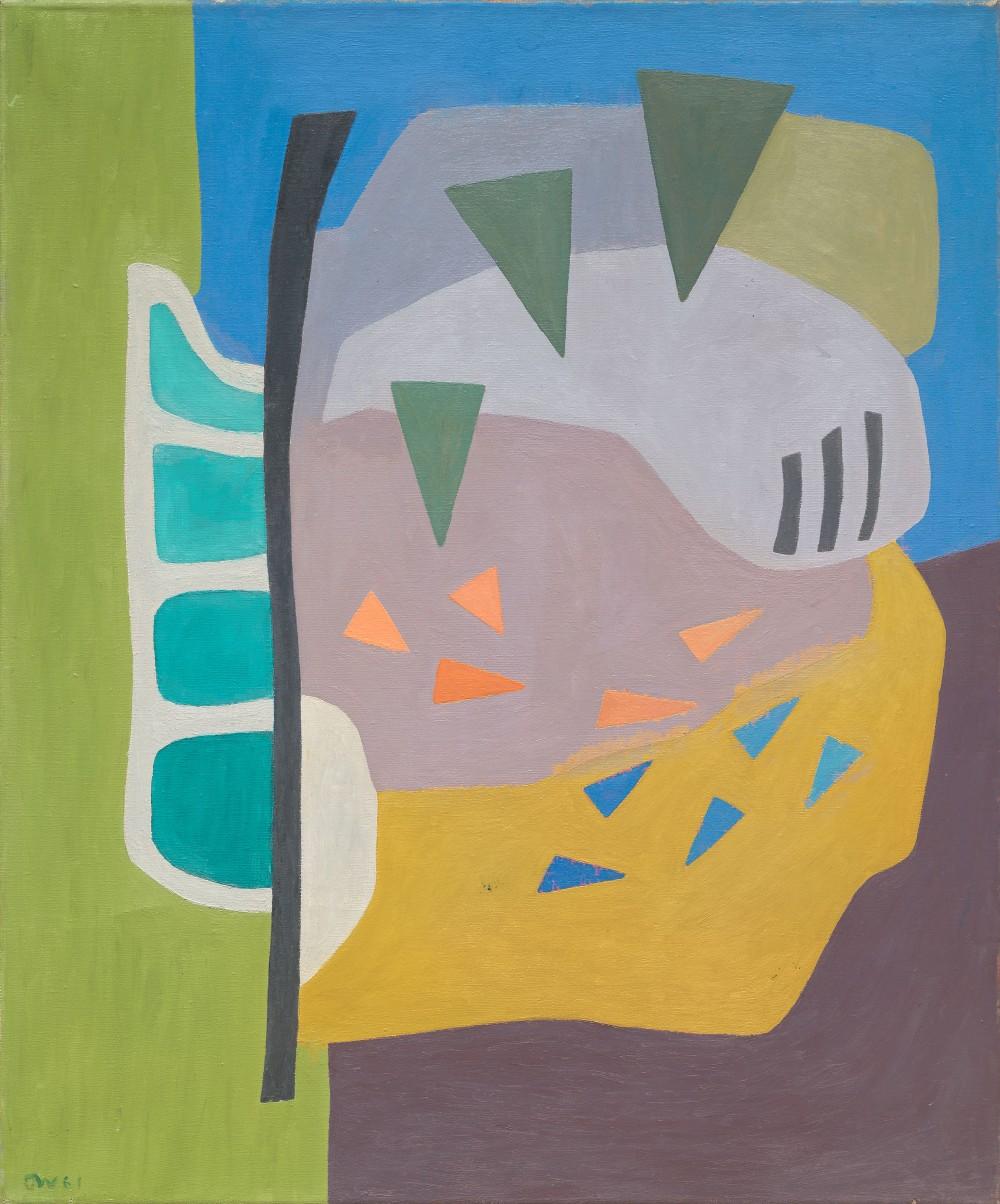 Charlotte Wankel, Komposisjon, 1961 auktionerades ut för 310 000 kronor den 20 mars 2018. Bild: Blomqvist