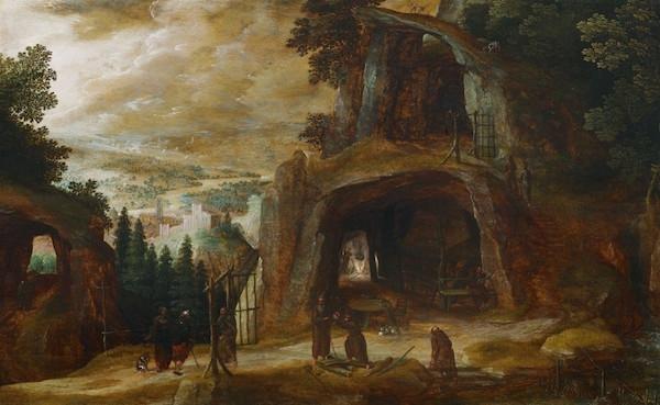 Josse de Momper, Landskap med människor framför en grotta, olja, 42 x 67,5 cm.