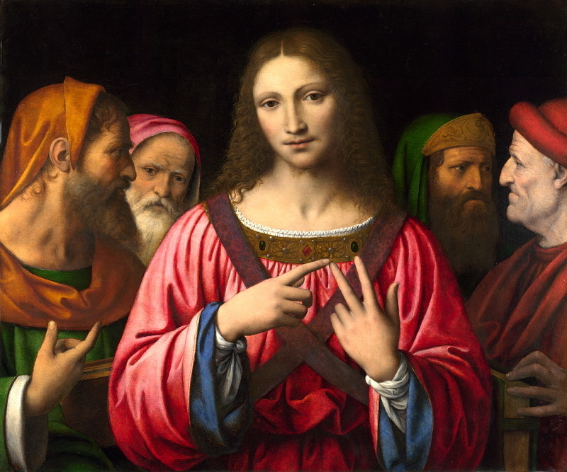Bernardino Luini, Cristo tra i dottori - Jesus bland de skriftlärda. 1515-1530. Bild: Barnebys.de