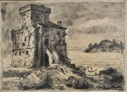 GIORGIO DE CHIRICO. Il castello di Rapallo (1947). Precio estimado: 12.000-18.000 €. Precio de salida: 5.000 €