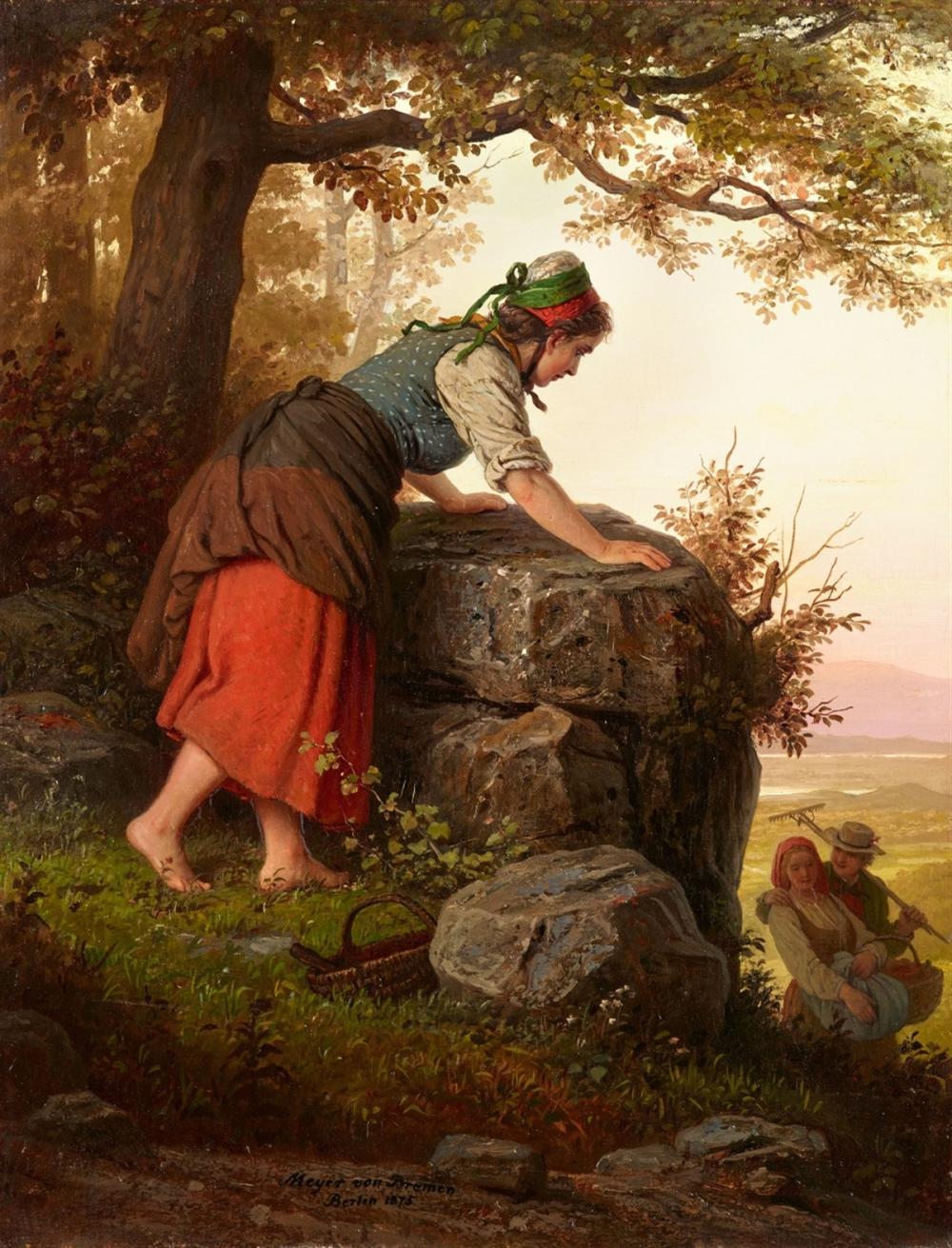 Johann Georg Meyer von Bremen (1813 Bremen - 1886 Berlin), Junge Frau an einem Felsen, Öl/Lwd., signiert und datiert, 1875 | Foto: Lempertz