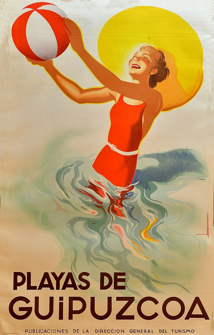 Josep Morell, tilltalande litografiska poster från 1940-talet föreställande Playas de Guipuzcoa ropas ut hos det spanska auktionshuset original Poster Barcelona för 800-1 500 euro