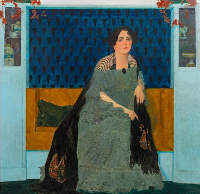 LEOPOLD BLAUENSTEINER (1880 Wien 1947) - Bildnis der Frau F. B., Öl/Lwd., signiert und datiert, 1908