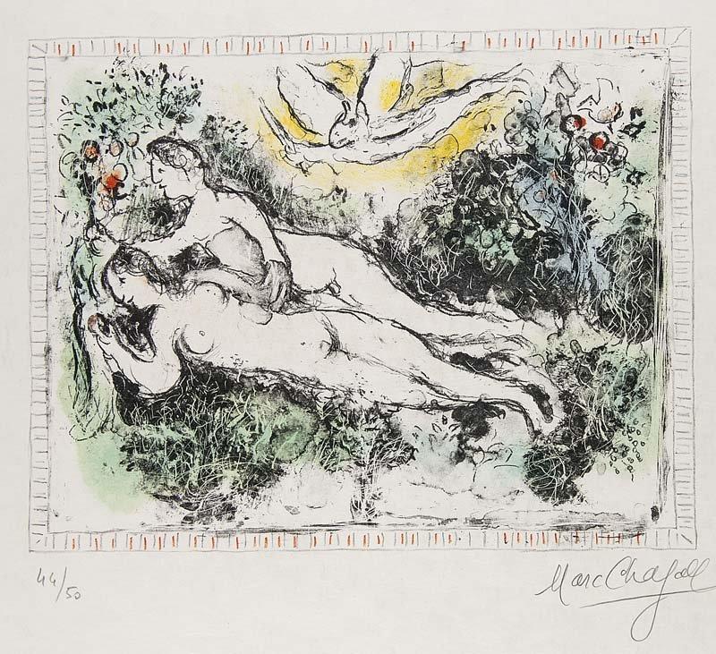 MARC CHAGALL - Le Jardin d'Eden, Farblithographie auf Japon nacré, 25 x 32 cm, nummeriert und signiert, 1974 Startpreis: 6.500-13.000 EUR