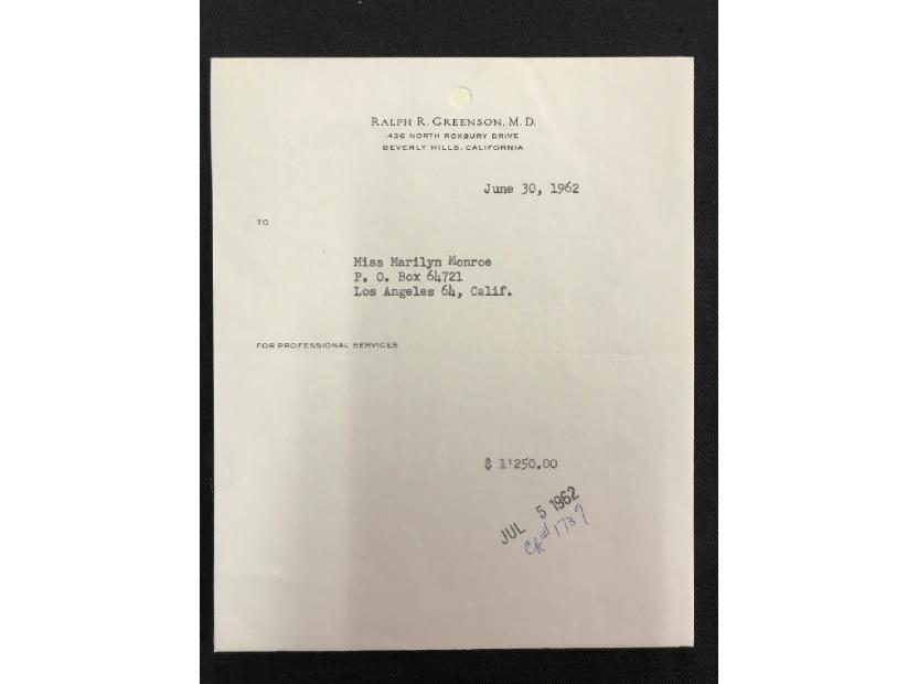 Marilyn Monroe receipt from Dr Ralph R Greenson. Photo: Henry Aldridge & Son