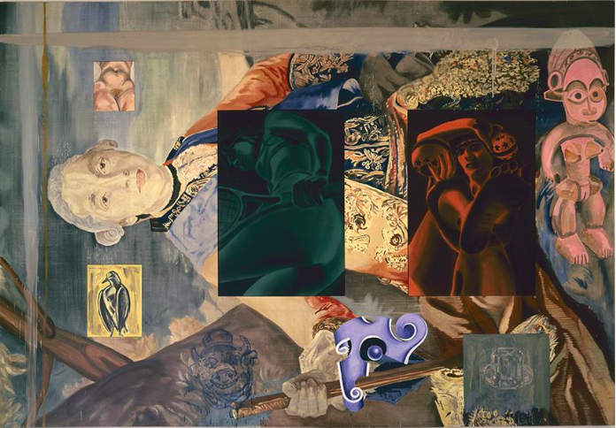 David Salle (b.1952) Lampwick's Dilemma, 1989 acrylic and oil on canvas 94 x 136 in. (239 x 345.5 cm.) © David Salle Courtesy of Skarstedt