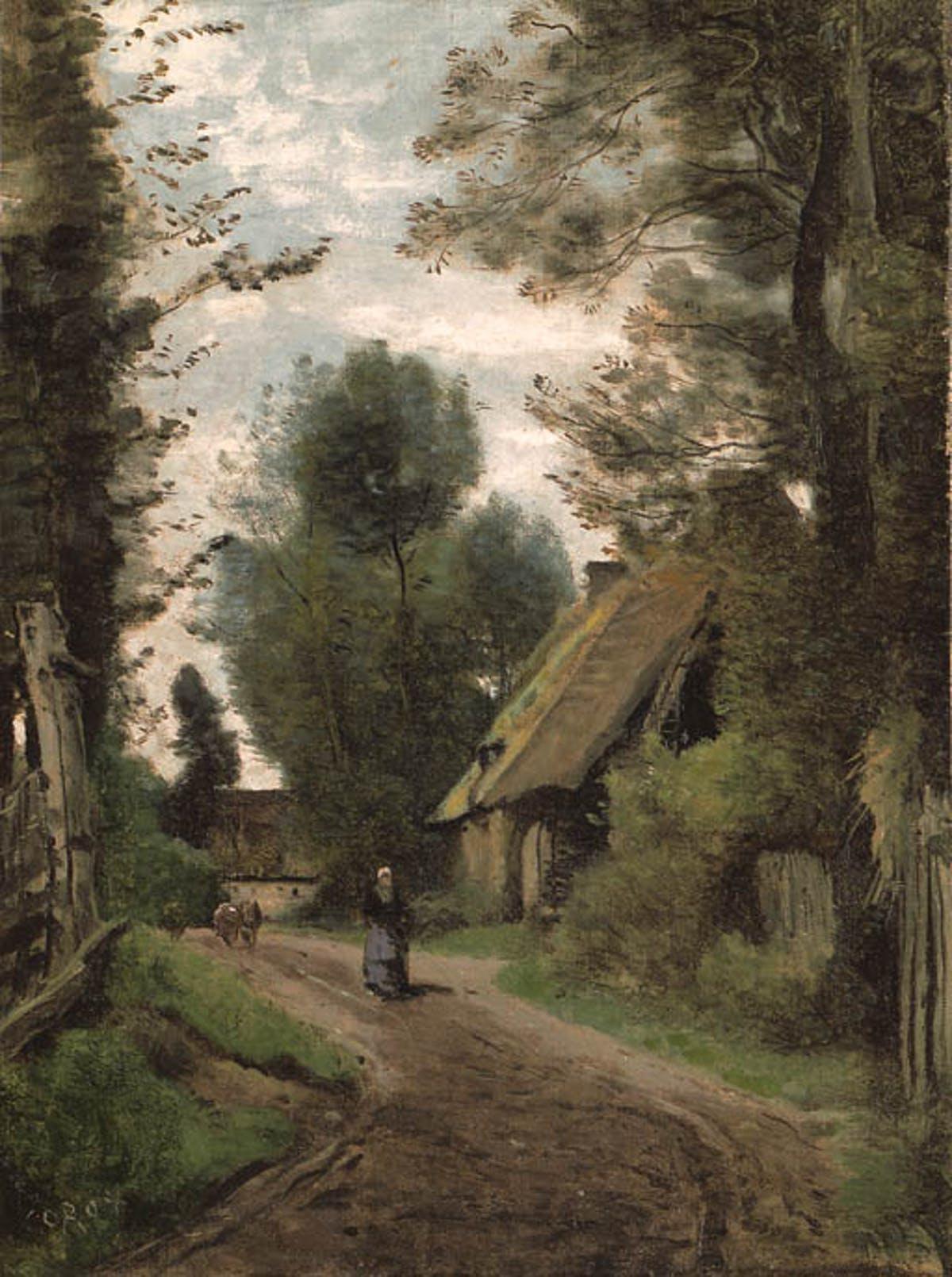 """JEAN-BAPTISTE COROT. """"Saint-Quentin-Des-Prés (Oise), Près Gournay-en-Bray"""". Óleo sobre lienzo."""
