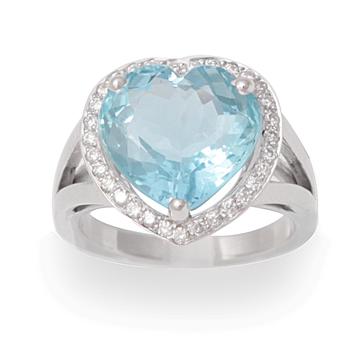 Bague coeur aigue marine diamants or gris Les Pierres de Julie