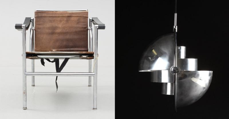 Vänster: LC-1, Le Corbusier. för Cassina. Såld för 4 600 år 2015. Höger: Louis Weisdorf, Multi-lite. Såld för 23 300 kronor år 2015. Foton: Bukowksis och Lauritz.com.