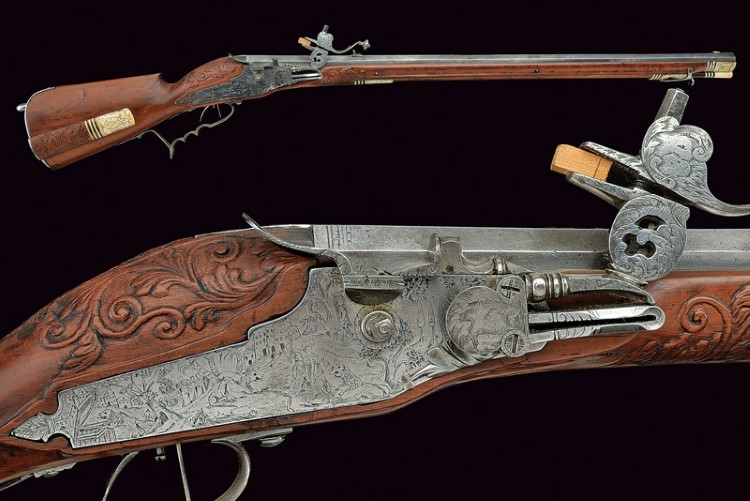 A wheel-lock rifle by Martin Hoeder. Low estimate: 14 200 USD