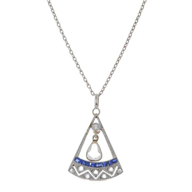 Halsband med diamant och syntetisk safir. Utrop: 10,600 sek. Fellows & Sons