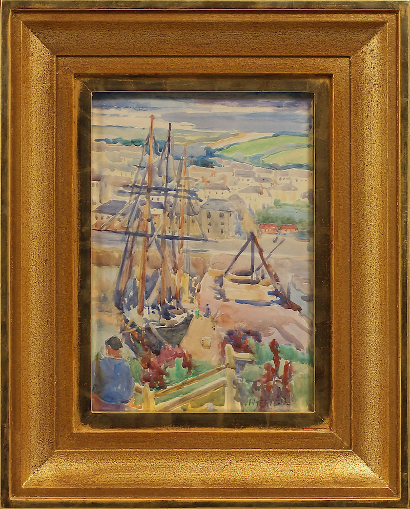 Sigrid Hjertén (1885-1948). Fartyg i hamn. Akvarell. Signerad Hjertén. 24 x 17 cm. Göteborgs Auktionsverk.