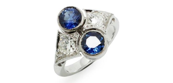Bague Saphirs et Diamants Création Benoit Joaillier