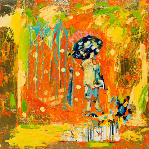 "Paul Wadsworth (brittisk, samtida), ""Flute Player In Gold"", 2014, olja på canvas."