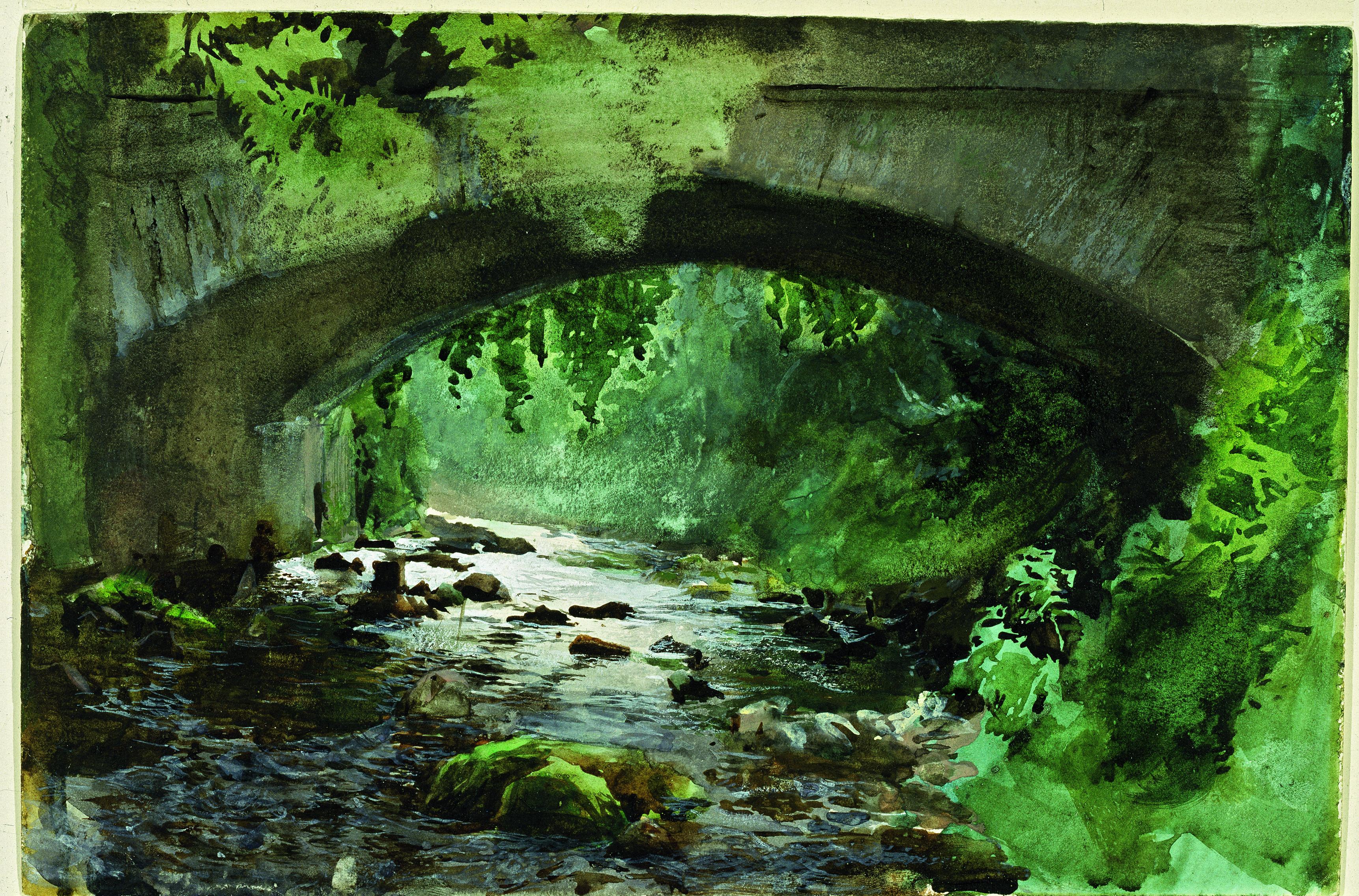 """""""Fors under gammal stenbro"""", 1884. Akvarell. Sven-Harrys konstmuseum"""