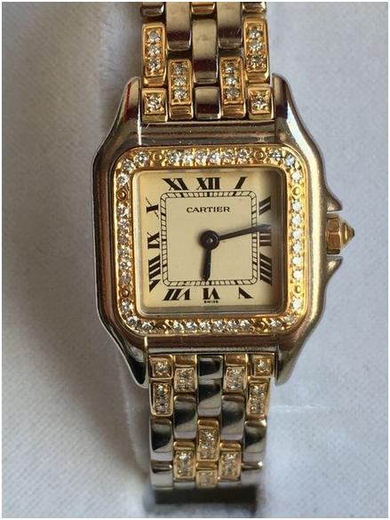 Cartier - damklocka i guld med 150 diamanter. Utrop: Hos Catawiki
