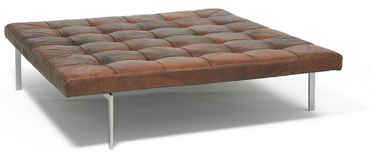 """Poul Kjærholm: """"PK 80A"""". A very rare square daybed with chromed steel frame. Mattress upholstered with patinated, original tobacco-brown natural leather. E. Kold Christensen. Utrop: 373 000 SEK Bruun Rasmussen"""