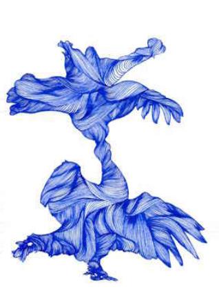 Tétras, 2015. Encre « Iroshizuku » sur papier de riz. 29,7 x 21 cm. Signé au dos.