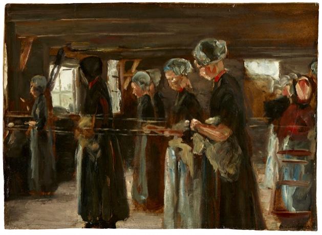 """MAX LIEBERMANN (1847 Berlin 1935) - Kompositionsstudie zur """"Flachsscheuer in Laren"""", Öl/Karton, signiert, 1886"""